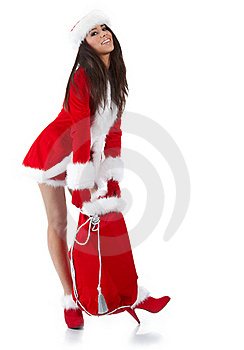 Woman With Christmas Gift Royalty Free Stock Photo - Image: 16913235