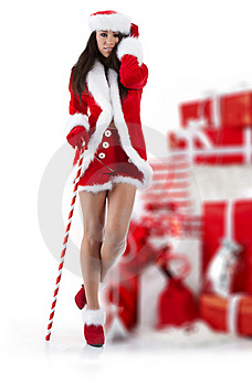Sexy Girl Wearing Santa Claus Clothes Royalty Free Stock Photos - Image: 16913258