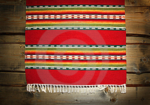 Textile Traditional Mat On Wood Backdrop Royalty Free Stock Image - Image: 16914896