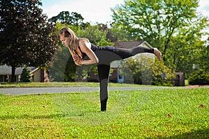 Young Girl Doing Yoga Exercise Alone Stock Photography - Image: 16915622