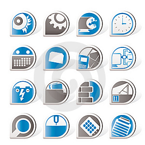 Computer, Mobile Phone And Internet Icons Royalty Free Stock Photo - Image: 16916045