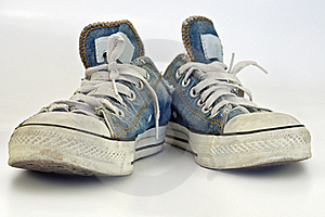 Old, Dirty Sneakers Over White Background Stock Photos - Image: 16916673