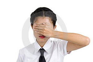 Businesswoman Covering Her Eyes Royalty Free Stock Images - Image: 16918099