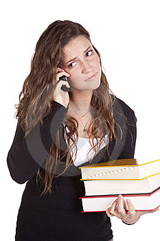 Business Woman With Books And Phone Stock Image - Image: 16930141