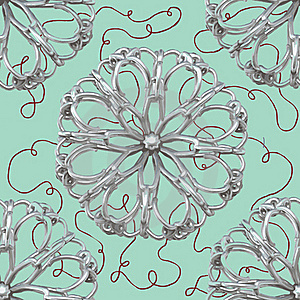 Silver Abstract Flower Pattern Royalty Free Stock Photos - Image: 16943428