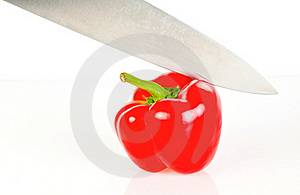 Paprika With Knife Stock Images - Image: 16944034