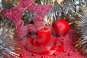 Extinguished Candle With Christmas Decorations Royalty Free Stock Image - Image: 16945976