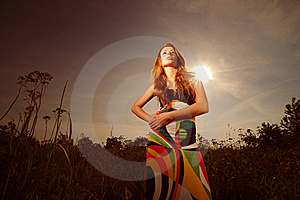 Beautiful Young Woman In Colorful Dress Stock Images - Image: 16952684
