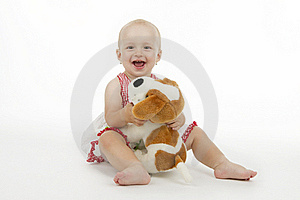 Little Girl With Doggy Royalty Free Stock Photos - Image: 16953418