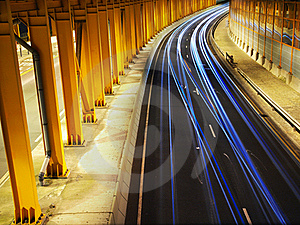 Traffic Night In Yellow Tunnel Royalty Free Stock Image - Image: 16955956