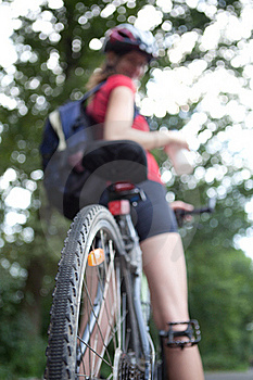 Female Biker  On Her Mountain Bike Stock Photo - Image: 16961460