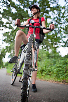 Female Biker  On Her Mountain Bike Stock Photo - Image: 16962280