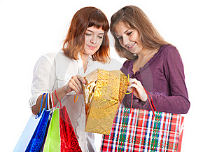Girls Are Looking Into The Bag Stock Photo - Image: 16964940