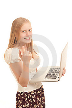 Businesswoman Holding Open Laptop Stock Photo - Image: 16968600