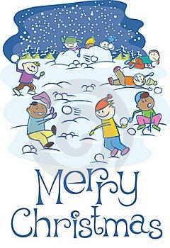 Kids Playing Snowballs On Xmas Royalty Free Stock Image - Image: 16973476