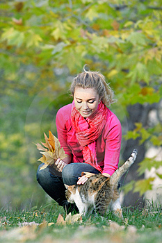 Attractive Girl And Cat On Nature Stock Image - Image: 16974161
