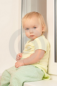 Girl Sitting On The Window Sill Royalty Free Stock Images - Image: 16975019
