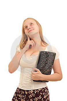 Carefree Businesswoman Holding Laptop Royalty Free Stock Photography - Image: 16975067