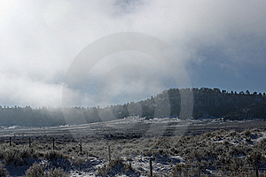 Foggy Mountain And Field Stock Photo - Image: 16975190