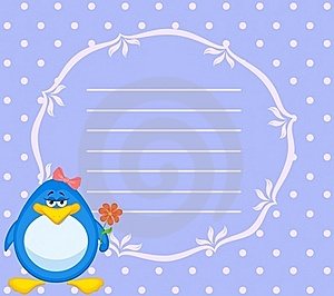 Cartoon Penguin With Flower Stock Images - Image: 16978094