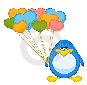 Cartoon Penguin With Balloon Royalty Free Stock Photography - Image: 16978097