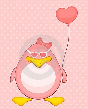 Cartoon Penguin With Balloon Royalty Free Stock Image - Image: 16978106