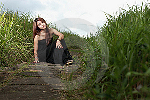 Asian Woman In The Meadow Royalty Free Stock Photography - Image: 16978427
