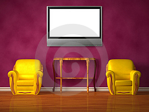 Two Chairs With Wooden Console And Lcd Tv Royalty Free Stock Photos - Image: 16980798