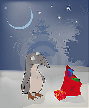 Winter A Penguin And Christmas Gifts Royalty Free Stock Image - Image: 16984936