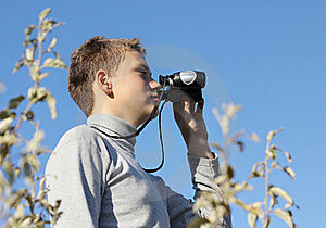 Boy With Binoculars In Hand Royalty Free Stock Images - Image: 16985689