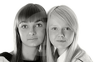 Portrait Two Girls Royalty Free Stock Image - Image: 16987116