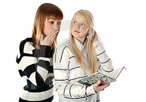 Two Beautiful Girls Read Diary Book Royalty Free Stock Photos - Image: 16987448