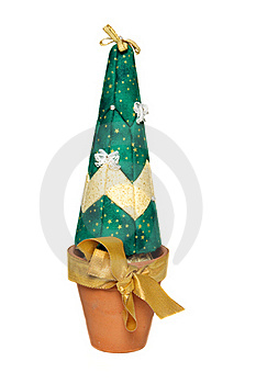 Artificial Christmas Tree In Pot With Gold Bow Stock Image - Image: 16987801