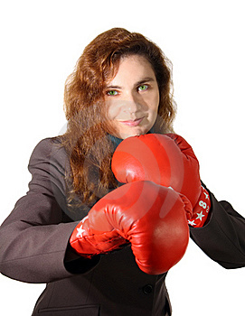 Business Woman With Boxing Gloves Royalty Free Stock Photo - Image: 16988175