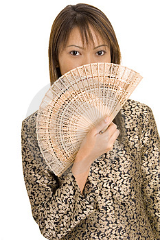 Girl and Fan 1 Stock Photography