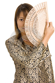 Girl And Fan 3 Free Stock Photo