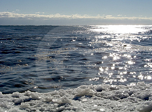 Sun On Icy Shore 01 Stock Photo