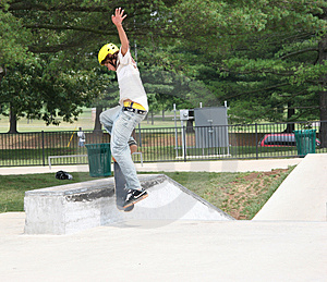 Skateboarder Jumping Onto Wall (2) Stock Images