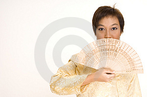 Asian Girl And Fan Stock Image