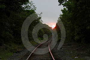 Sunset On Tracks Stock Photos
