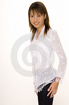 Girl In White 3 Stock Images