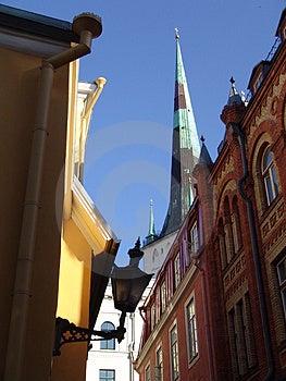 Старый взгляд городка Стоковое Изображение