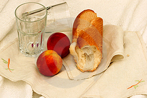 Crusty Bread And Fruit Snack Stock Photography