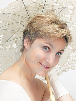 Beautifu Dreamy Woman Holding Fancy Umbrella Free Stock Photo