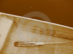 One Sepia Rowboat Royalty Free Stock Photos