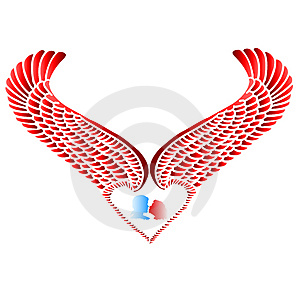 Wing Heart And Silhouette Stock Photography - Image: 1700792