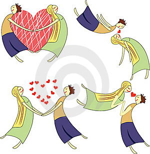 Cartoon Set Of Two Lovers Stock Images - Image: 17003674