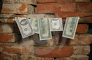 Dollars Hang On A Rope Royalty Free Stock Photo - Image: 17004565