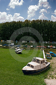 Flooded River And Boats Stock Image - Image: 17011541