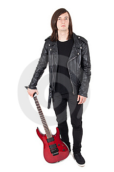 Punk With Guitar Stock Image - Image: 17013781